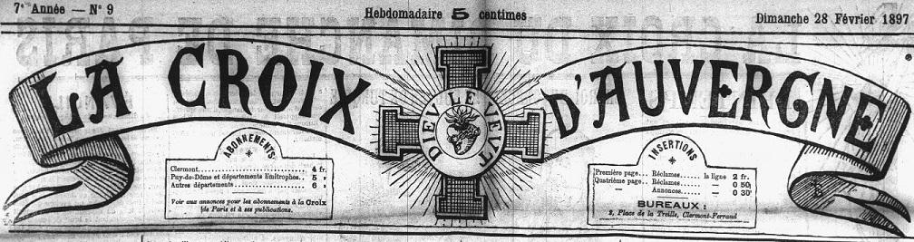 Photo (Auvergne-Rhône-Alpes livre et lecture) de : La Croix d'Auvergne. Clermont-Ferrand, 1891-1944. ISSN 2125-1940.