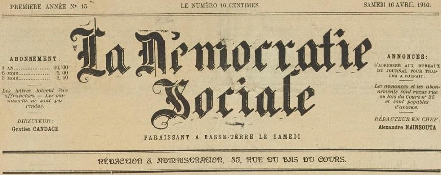 Photo (BnF / Gallica) de : La Démocratie sociale. Basse-Terre, 1910-[1947 ?]. ISSN 2427-7134.