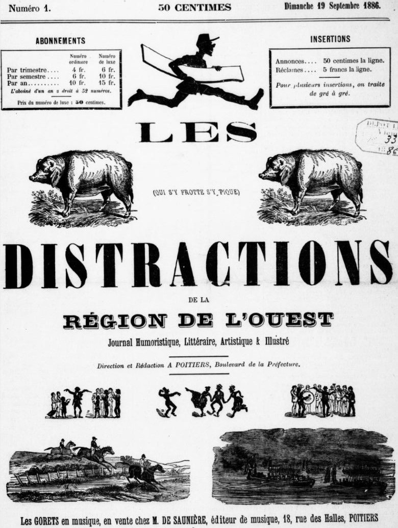 Photo (BnF / Gallica) de : Les Distractions de la région de l'Ouest. Poitiers, 1886. ISSN 2125-9291.