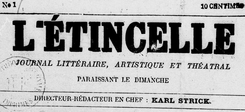Photo (BnF / Gallica) de : L'Étincelle. Toulon, 1886. ISSN 2127-505X.