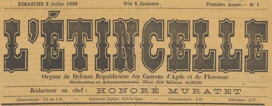 Photo (BnF / Gallica) de : L'Étincelle. Agde, 1898-1904. ISSN 2127-5076.