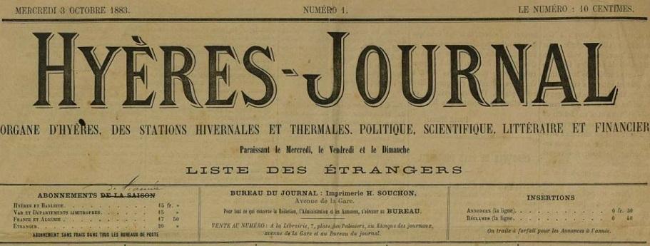 Photo (Var. Archives départementales) de : Hyères-journal. Hyères, 1883-1914. ISSN 2017-0122.