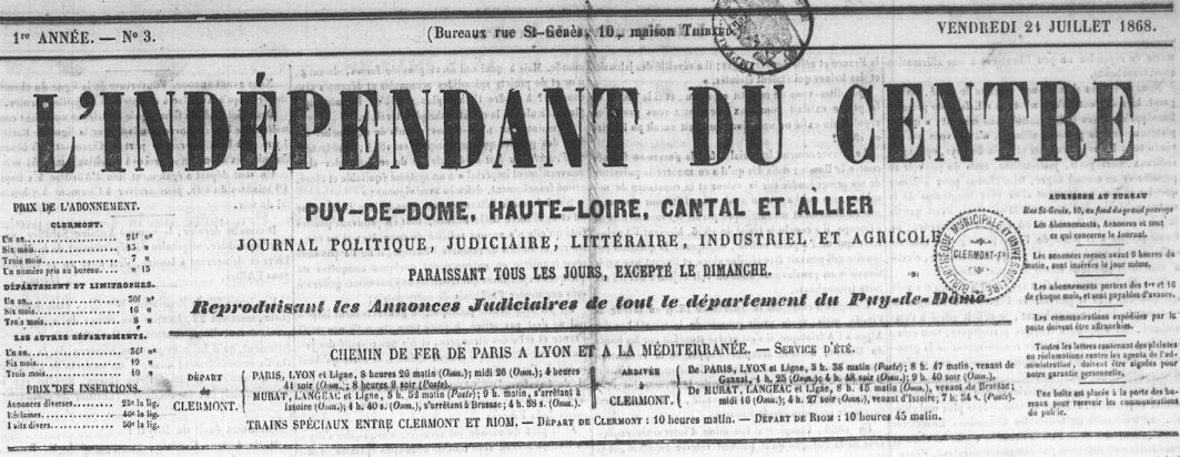 Photo (Auvergne-Rhône-Alpes livre et lecture) de : L'Indépendant du Centre. Clermont-Ferrand, 1868-1871. ISSN 2129-6081.