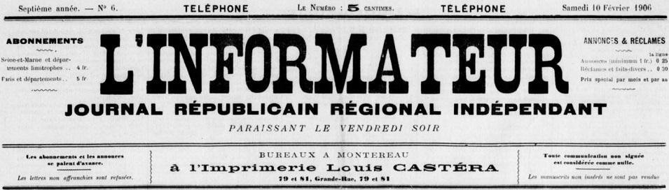 Photo (BnF / Gallica) de : L'Informateur. Montereau, 1900-1925. ISSN 2129-8475.