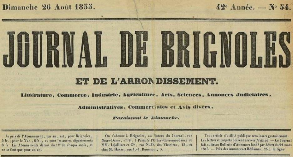 Photo (Var. Archives départementales) de : Journal de Brignoles et de l'arrondissement. Brignoles, 1822-1878. ISSN 2130-2863.
