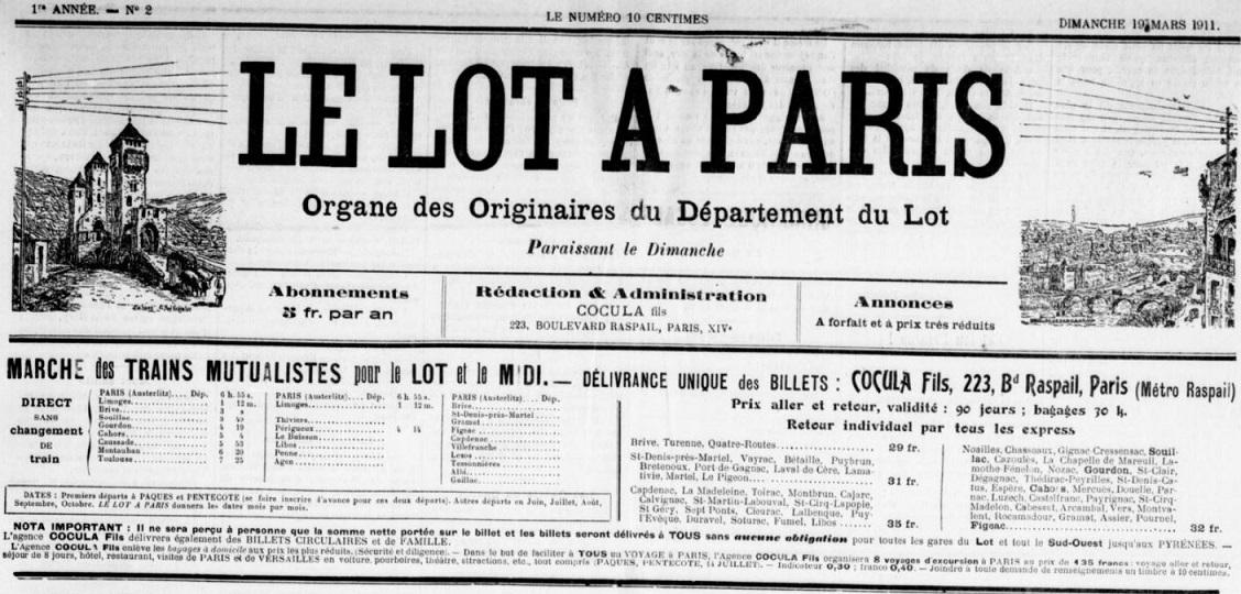 Photo (BnF / Gallica) de : Le Lot à Paris. Paris, 1911-1914. ISSN 2112-017X.