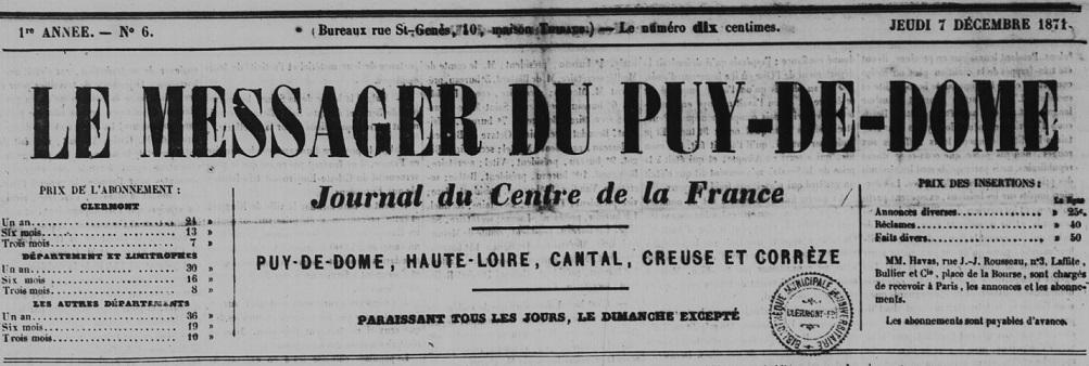 Photo (Auvergne-Rhône-Alpes livre et lecture) de : Le Messager du Puy-de-Dôme. Clermont-Ferrand, 1871-1872. ISSN 2132-1566.