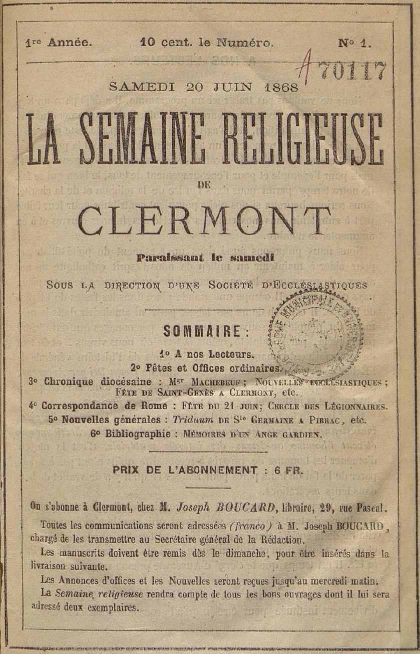 Photo (Auvergne-Rhône-Alpes livre et lecture) de : La Semaine religieuse de Clermont. Clermont-Ferrand, 1868-1947. ISSN 2137-9696.