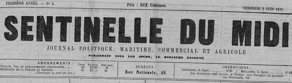 Photo (Var. Archives départementales) de : Sentinelle du Midi. Toulon, 1871-1890. ISSN 2018-3461.