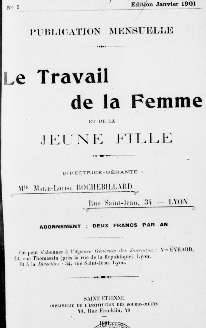Photo (BnF / Gallica) de : Le Travail de la femme et de la jeune fille. Lyon, 1901-[1922 ?]. ISSN 2606-4626.