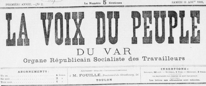 Photo (BnF / Gallica) de : La Voix du peuple du Var. Toulon, 1889-1891. ISSN 2018-638X.