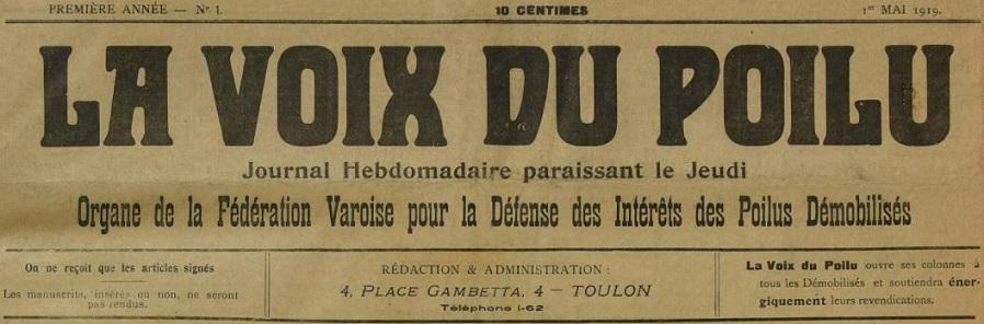 Photo (Var. Archives départementales) de : La Voix du poilu. Toulon, 1919-1920. ISSN 2140-2787.