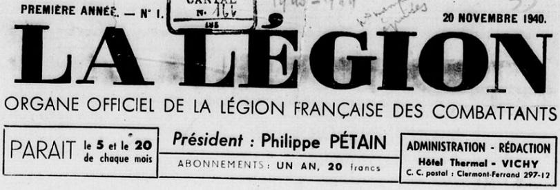 Photo (BnF / Gallica) de : La Légion. [Éd. A]. Vichy, 1940-1944. ISSN 1153-723X.