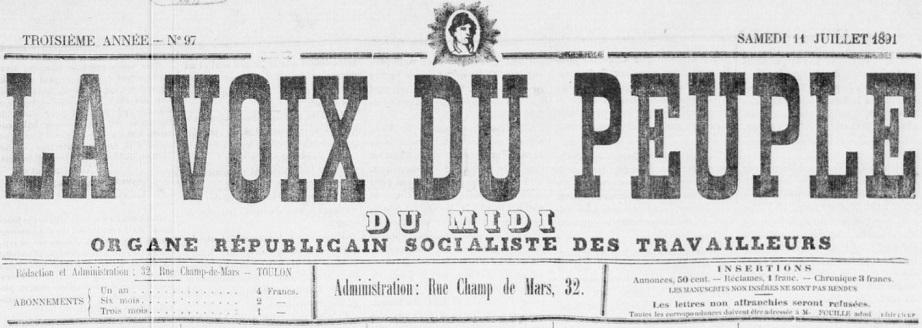 Photo (BnF / Gallica) de : La Voix du peuple du Midi. Toulon, 1891-[1900 ?]. ISSN 2018-6398.