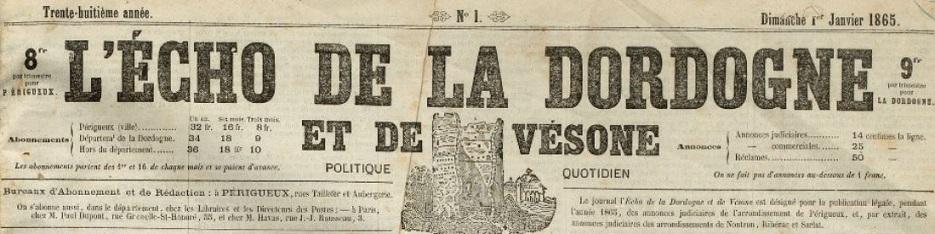 Photo (Archives départementales de la Dordogne) de : L'Écho de la Dordogne et de Vésone. Périgueux, 1865-1890. ISSN 2108-7954.