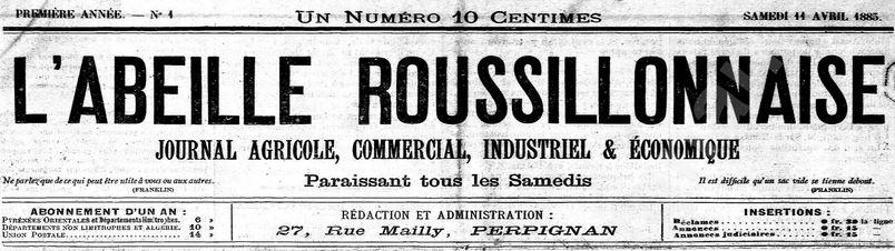 Photo (Médiathèque (Perpignan)) de : L'Abeille roussillonnaise. Perpignan, 1885-1887. ISSN 2120-0742.