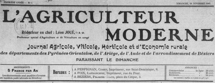 Photo (Médiathèque (Perpignan)) de : L'Agriculteur moderne. Perpignan, Foix, Béziers, 1906-[1909?]. ISSN 2120-4551.