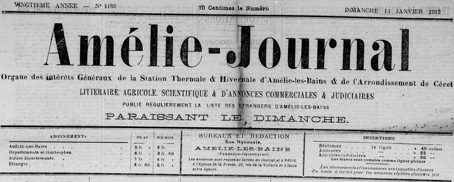 Photo (Médiathèque (Perpignan)) de : Amélie-journal. Amélie-les-Bains, 1893-1914. ISSN 2120-6201.