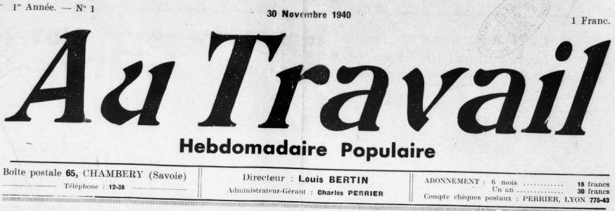 Photo (BnF / Gallica) de : Au travail. Chambéry, 1940-[1944 ?]. ISSN 2015-1152.