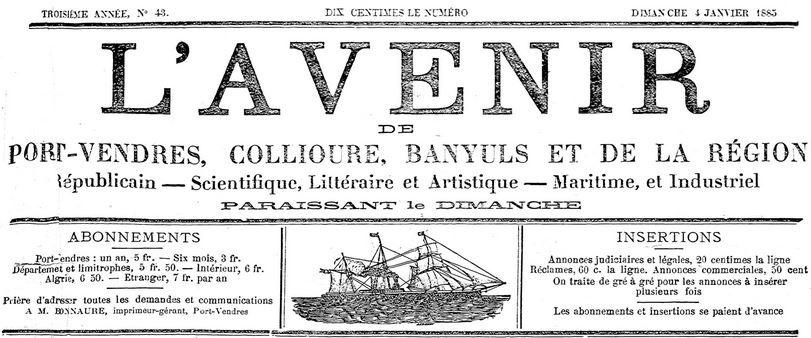 Photo (Médiathèque (Perpignan)) de : L'Avenir de Port-Vendres et de la région. Port-Vendres, 1883-1885. ISSN 2121-5235.
