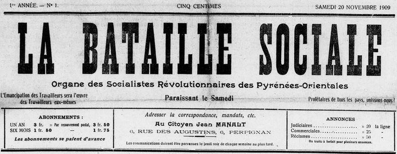 Photo (Médiathèque (Perpignan)) de : La Bataille sociale. Perpignan, 1909-1910. ISSN 2121-865X.