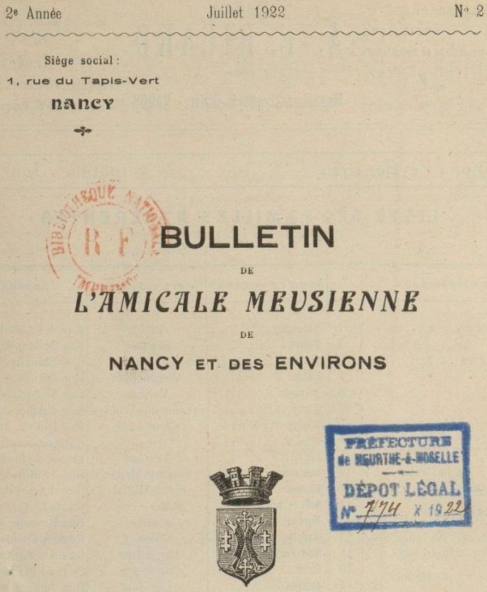 Photo (BnF / Gallica) de : Bulletin de l'Amicale meusienne de Nancy et des environs. Nancy, 1921-1935. ISSN 1966-3951.