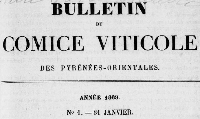 Photo (Médiathèque (Perpignan)) de : Bulletin du Comice viticole des Pyrénées-Orientales. Perpignan, 1868-[1882 ?]. ISSN 2122-8310.