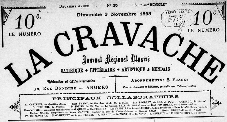 Photo (BnF / Gallica) de : La Cravache. Angers, 1895-[1895 ?]. ISSN 2124-9768.