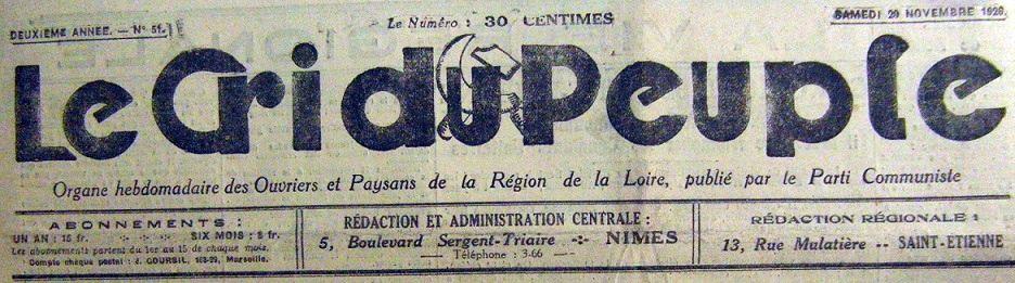 Photo (BnF / Gallica) de : Le Cri du peuple. Nîmes, Lyon, 1925-1946. ISSN 2024-3359.