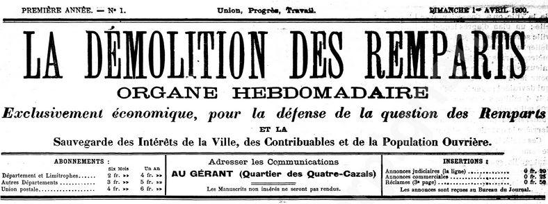 Photo (Médiathèque (Perpignan)) de : La Démolition des remparts. Perpignan, 1900-1901. ISSN 2125-7302.