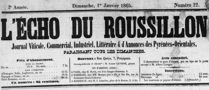 Photo (Médiathèque (Perpignan)) de : L'Écho du Roussillon. Perpignan, 1864-1882. ISSN 2126-6603.