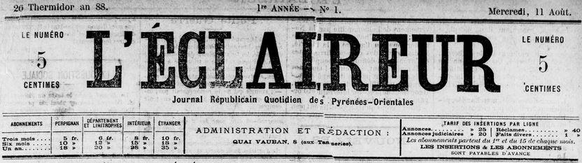 Photo (Médiathèque (Perpignan)) de : L'Éclaireur. Perpignan, 1880-1893. ISSN 2126-905X.