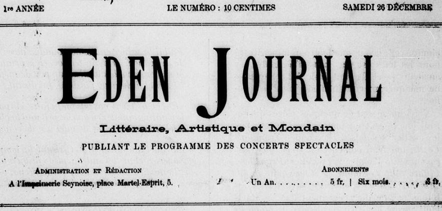 Photo (BnF / Gallica) de : Éden journal. La Seyne, 1891-[1892 ?]. ISSN 2127-0740.