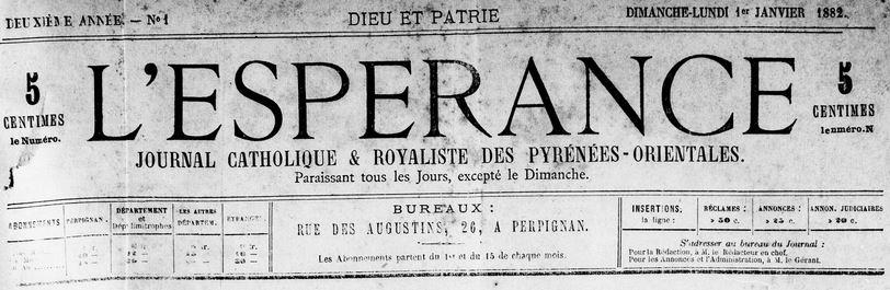 Photo (Médiathèque (Perpignan)) de : L'Espérance. Perpignan, 1881-1884. ISSN 2127-410X.
