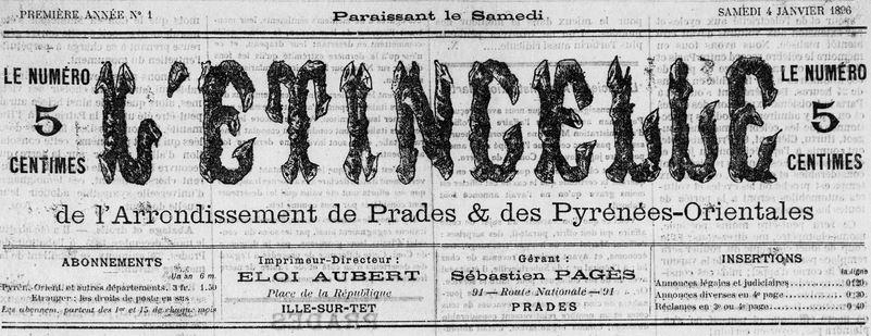 Photo (Médiathèque (Perpignan)) de : L'Étincelle de l'arrondissement de Prades et des Pyrénées-Orientales. Ille-sur-Têt, Prades, 1896. ISSN 2127-5165.
