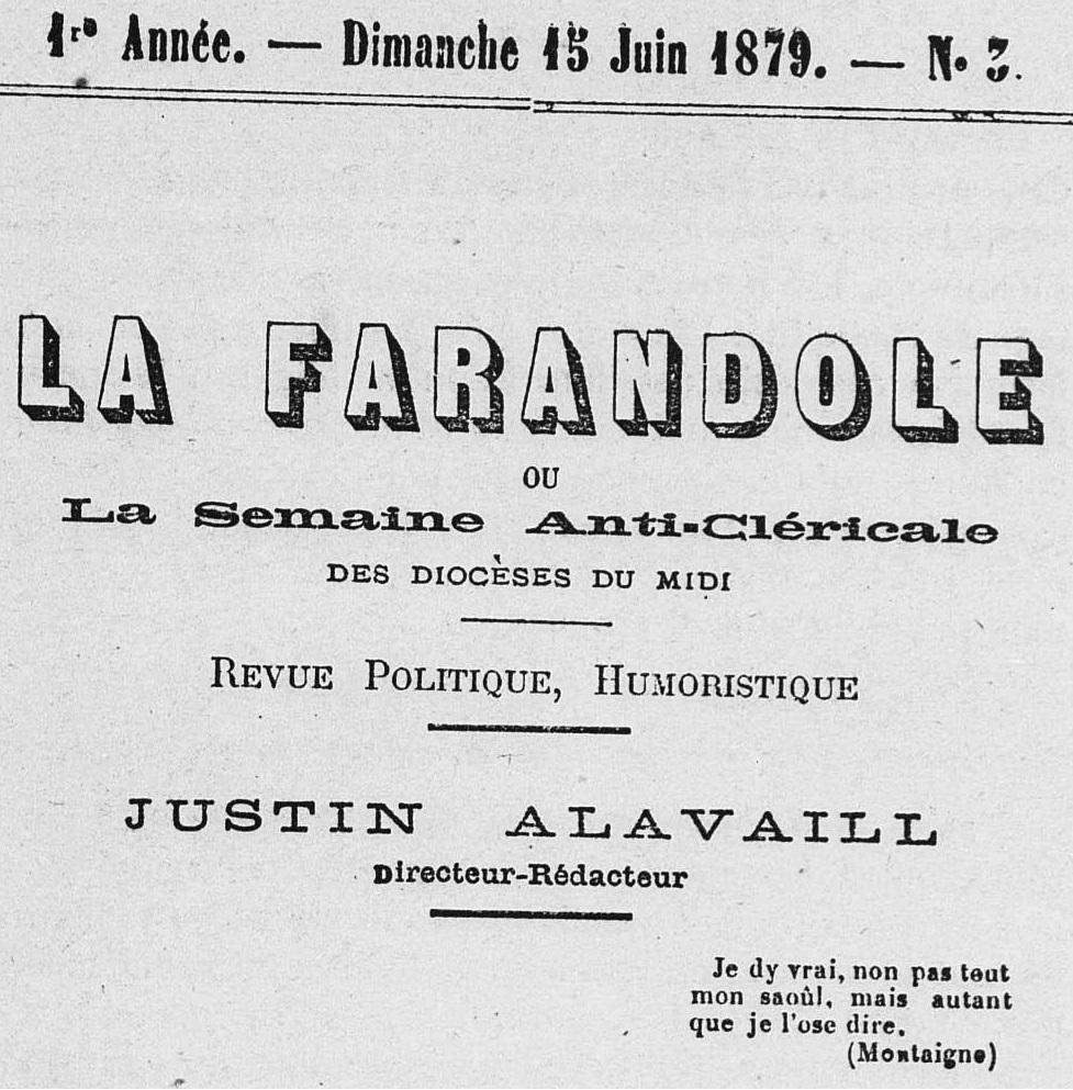 Photo (Médiathèque (Perpignan)) de : La Farandole ou la Semaine anticléricale des diocèses du Midi. Perpignan, 1879-1880. ISSN 2127-813X.
