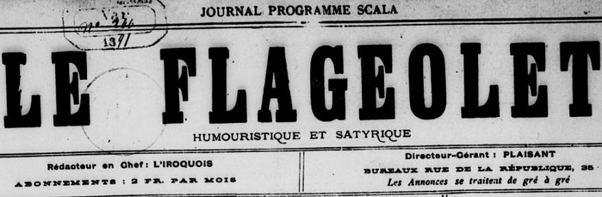 Photo (BnF / Gallica) de : Le Flageolet. Toulon, [1891 ?]. ISSN 2128-069X.