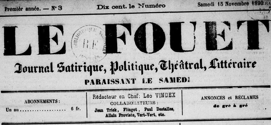 Photo (BnF / Gallica) de : Le Fouet. [Cette], [1890 ?]. ISSN 2128-1513.