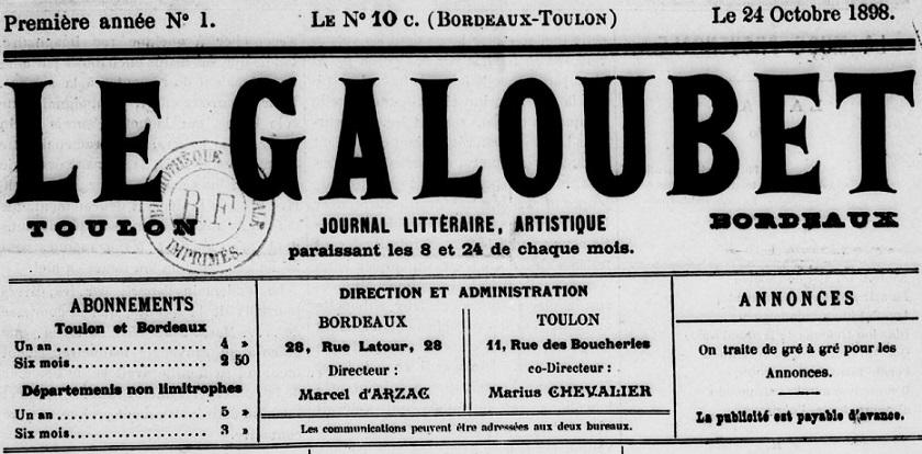 Photo (BnF / Gallica) de : Le Galoubet. Bordeaux, Toulon, 1898. ISSN 2128-4482.