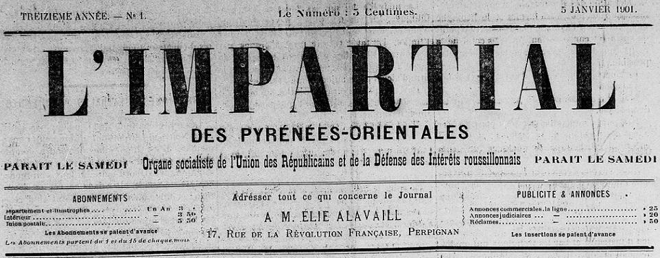 Photo (Médiathèque (Perpignan)) de : L'Impartial des Pyrénées-Orientales. Perpignan, 1889-[1903 ?]. ISSN 2129-352X.