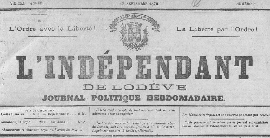 Photo (Hérault. Archives départementales) de : L'Indépendant de Lodève. Lodève, 1870-1944. ISSN 2129-545X.