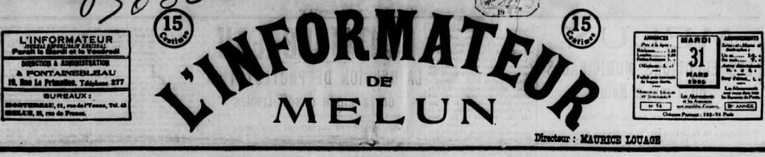 Photo (BnF / Gallica) de : L'Informateur de Melun. Fontainebleau, 1925-1927. ISSN 2129-8661.