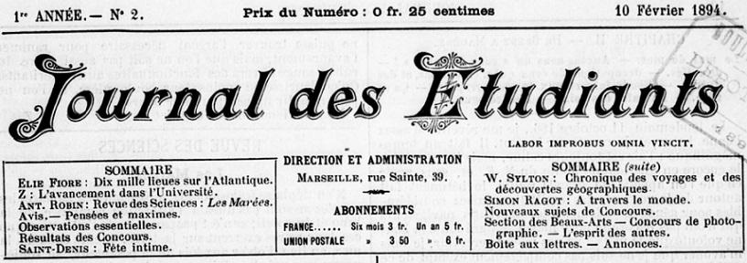 Photo (BnF / Gallica) de : Journal des étudiants. Marseille, 1894. ISSN 2130-7318.