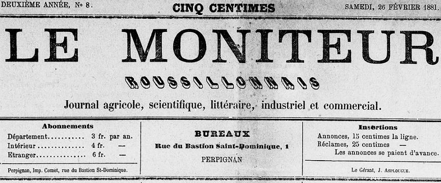 Photo (Médiathèque (Perpignan)) de : Le Moniteur roussillonnais. Perpignan, 1880-1883. ISSN 2132-5197.