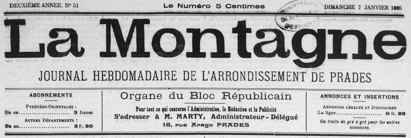 Photo (Médiathèque (Perpignan)) de : La Montagne. Prades, 1905-1914. ISSN 2132-5391.