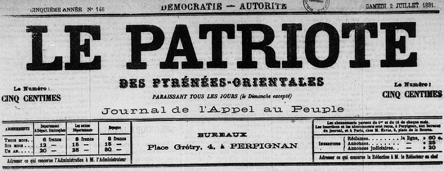 Photo (Médiathèque (Perpignan)) de : Le Patriote des Pyrénées-Orientales. Perpignan, 1877-1887. ISSN 2133-7195.