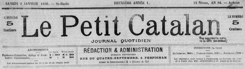 Photo (Médiathèque (Perpignan)) de : Le Petit Catalan. Perpignan, 1885-1886. ISSN 2134-020X.