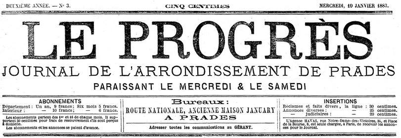 Photo (Médiathèque (Perpignan)) de : Le Progrès. Prades, 1882-1890. ISSN 2135-2933.