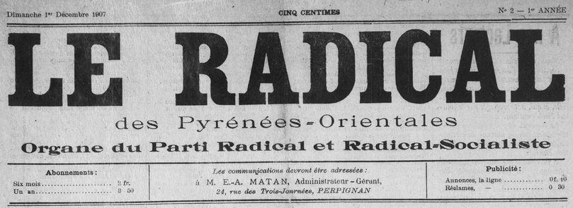 Photo (Médiathèque (Perpignan)) de : Le Radical des Pyrénées-Orientales. Perpignan, 1907-[1909 ?]. ISSN 2135-8486.
