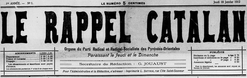 Photo (Médiathèque (Perpignan)) de : Le Rappel catalan. Perpignan, 1912. ISSN 2135-944X.